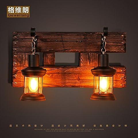 LIVY Vintage industrial LOFT estilo americana sólida madera salón pasillo arte personalidad creativa restaurante café barco madera doble lámpara de