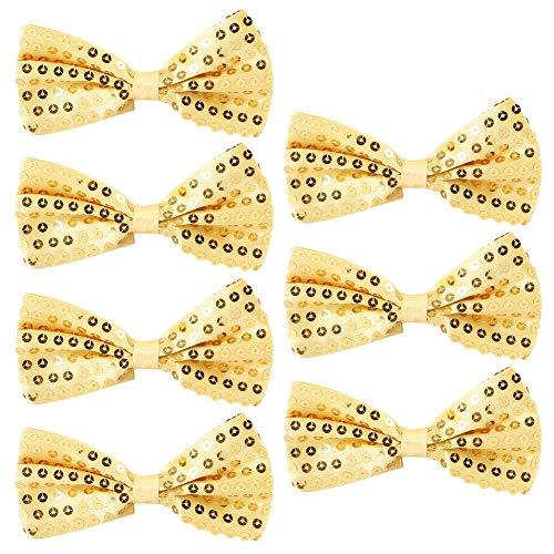 Pailletten Fliege Schleife 7 Pack Glitzer Fliege Vorgebunden, 7 x 12cm Einstellbare Fliege Eine Grösse passt allen Bow Tie, Herren Damen Kinder Fliege für Fancy Kostüm Party Zubehör (Yellow)