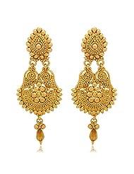 Traditional Ethnic Gold Plated Teardrop Dangler Earrings For Women By Donna ER30024G