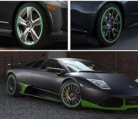 SKS Distribution® 16PCS grün Streifen Rad Sticker und Aufkleber 35,6cm Zoll Reflektierende Felgenband Fahrrad Motorrad Auto Tape Auto Styling