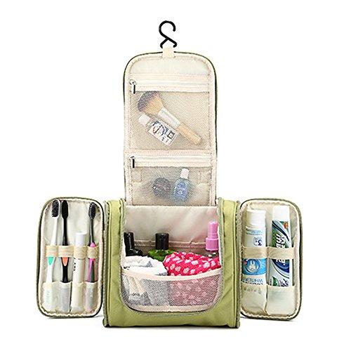 Hängende Kulturbeutel, Gindoly Wasserdicht Tragbar Reise Kosmetik Make-up Tasche Waschen Taschen Rasur Kit Organizer mit Extra Haken für Frauen und Männer (Grün)