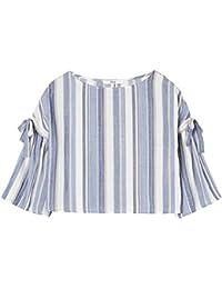 FIND Camisa de Rayas con Detalle de Lazada para Mujer