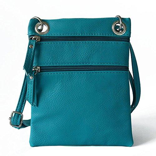 Mefly La Sig.Ra Croce Obliqua Bag Pu Piccola Croce Obliqua Borsa Multicolore Zero Portamonete Bianco Luce blue
