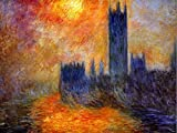 CLAUDE MONET HOUSE OF PARLIAMENT SUN 1 OLD MASTER ART PAINTING PRINT 12x16 inch 30x40cm 523OM by Wee Blue Coo Prints