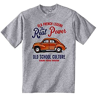 TEESANDENGINES Men's Renault 4CV Grey T-Shirt Size Small