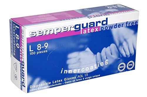 Semperguard 813780049/3000001293 Latex IC Einmalschutz und Untersuchungshandschuh aus Naturlatex, puderfrei, Größe XL, 9-10, Naturweiß (90 er-Pack)