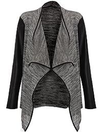 Veste en tricot pour femme avec décolleté cascade et manches en cuir synthétique, gris/noir, 36/38