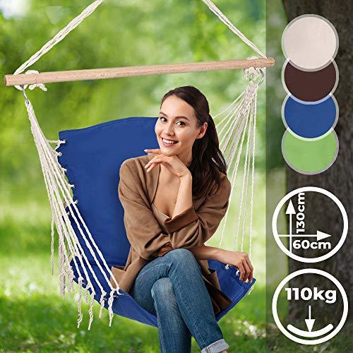 Jago Hängesessel mit Holz-Querstrebe Outdoor/Indoor | in Blau, für Kinder und Erwachsene | Tragbare Gartenschaukel, Hängeschaukel, Hängestuhl, Hängesitz