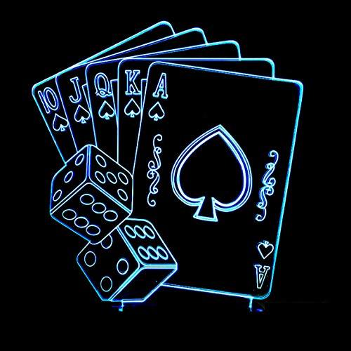 d Täuschung Nachtlicht Karten Spielen Form 7 Farbwech Mit Acryl Flat & Abs Base & Usb-Ladegerät Ändern Berühren Schreibtisch Lampe Tischleuchte ()