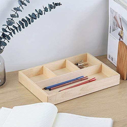 Slivy 4-Gitter Black Walnut Desk Organizer - rechteckig Holzdekor Make Up Keys Tray Desk Tidy Feder-Briefpapier-Halter Kosmetik Organisator-Aufbewahrungsbehälter for Heim Tabelle Büro, 12