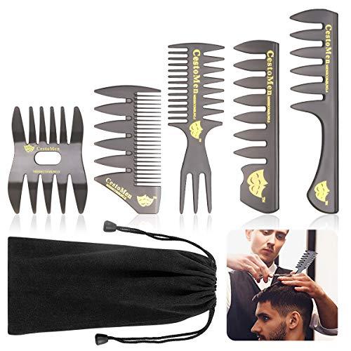 Pettine Capelli Uomo Professionale largoWisolt 5 Pezzi Pettini Uomo Pezzi Pettine Modellante Professionale Denti Larghi Strumenti per Lo Styling dei