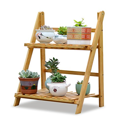 XZGDEN 2 Tier Klapppflanze Stand Regale Garten Bambus Holz Blume Pot Display Ladder - 3-tier-ladder Regale