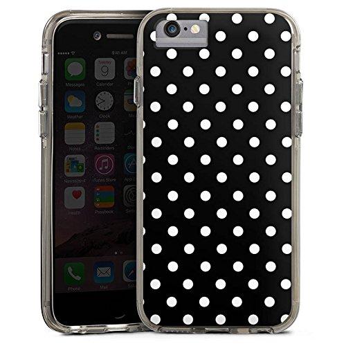 Apple iPhone 7 Bumper Hülle Bumper Case Glitzer Hülle Punkte Retro Schwarz Bumper Case transparent grau
