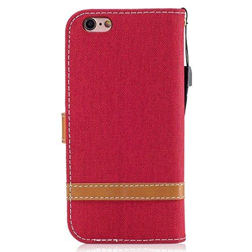 Phone Case & Hülle Für iPhone 6 & 6S, Denim Texture Leder Tasche mit Halter & Card Slots & Wallet & Lanyard ( Color : Grey ) Red