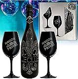 Sekt Geschenk Le Club silber Kristalle und 2 schwarze Champagner Gläser für Geburtstag Weihnachten Geschenkset