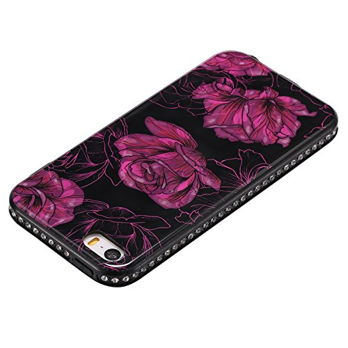 Hülle für iPhone SE 5S, Case Cover für iPhone 5 5S SE [Scratch-Resistant] , ISAKEN Glitzer Strass Kristall TPU Silikon Rand Perfect Fit Malerei Muster TPU + PC Protective Schwarz Rückseite Back Case H Blume Rosa