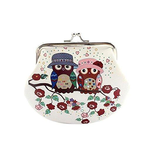 Daliuing Geldbörse Coin klein Schließe Süße Casual Leder Cash Tasche Owl Cartoon Muster Schnalle Münzfach für Frauen Mädchen, D, 14x9.5cm - Owl Papier Gewicht