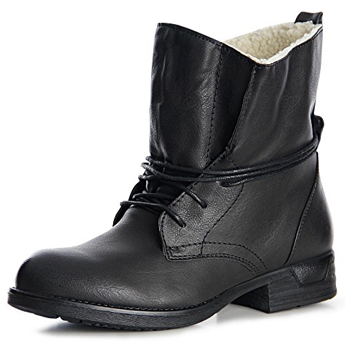 Topschuhe24 987 Mulheres De Botas Do Trabalhador Ankle Boots Lace-preta