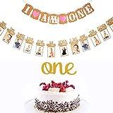 Erster Geburtstag Dekoration Set, 1st Baby Geburtstagskuchen Topper Dekoration und Baby 1 - 12 Monate Foto Banner Garland und Ich Bin Ein Banner mit Herz (Pink)