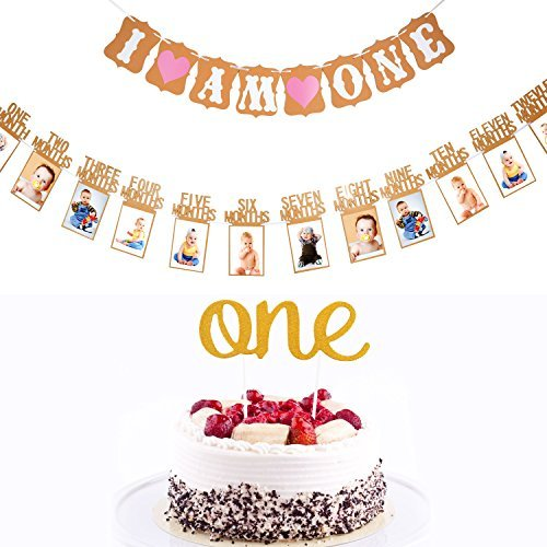 Erster Geburtstag Dekoration Set, 1st Baby Geburtstagskuchen Topper Dekoration und Baby 1 - 12 Monate Foto Banner Garland und Ich Bin Ein Banner mit Herz (Pink) (Machen Sie Ihre Eigenen Karten-set)