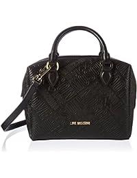 Love Moschino - Borsa Embossed Pu Nero, Shoppers y bolsos de hombro Mujer, Schwarz (Black), 18x23x8 cm (W x H D)