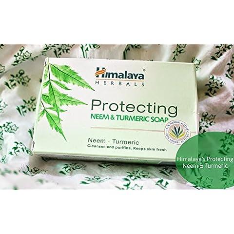 Himalaya Plantas Herbal Bar jabón hecho con 100% Aromaterapia Aceites Esenciales ANTIF ungal antibacteriano––Antienvejecimiento Anti Acne–Cada uno 2,65oz–Pack de 4(10,6oz)–(nim y kurkuma Jabón)
