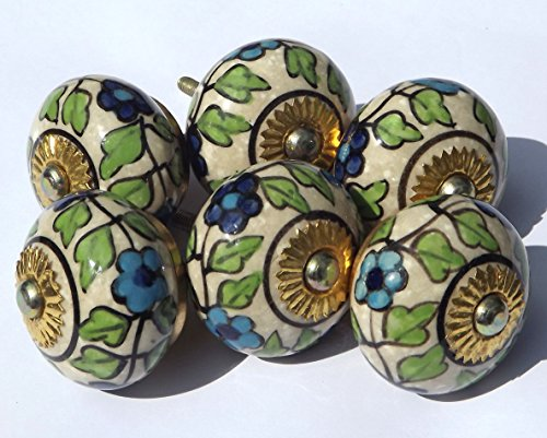 6 x Antique cream round with William Morris blue flowers(brass fittings) ceramic cupboard door knob drawer pull shabby chic handle porcelain