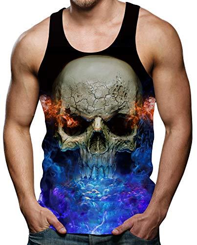Mens Weste T-Shirts 3D Schädel Colourful Gedruckt Regenbogen Sommer Bequem Hawaii Strand Tank Tops XXL -