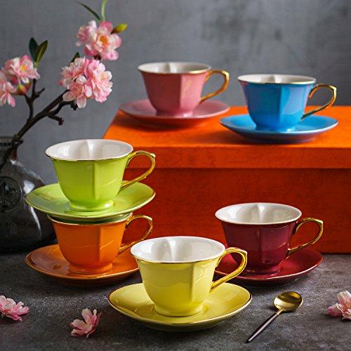 Artvigor, Porzellan Kaffeeservice, Bunt 12 teilig Kaffee Set, mit je 6 Kaffeetassen 150 ml und...