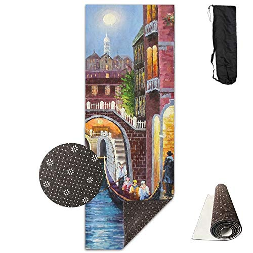 Tappetino per Yoga, Suitable as a Yoga, Pilates And Camping Mat Art Style Venice Building River Comfort Unisex Yoga Mat for Yoga,Exercise,Pilates,Sports & Outdoors