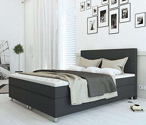 SAM® Boxspringbett 160x200 cm Carmen, Stoff Anthrazit, Nosag-Box, H3 Bonellfederkernmatratze, 4 cm Topper