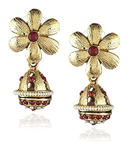 Ava Jhumki Earrings for Women (Red) (E-VS-048)
