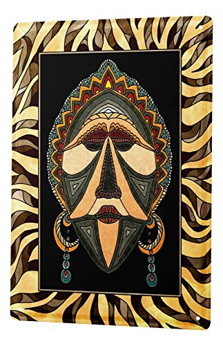 Pared Cartel de chapa Placa metal tin sign Aventurero Decoración máscara africana Letrero De Metal 20X30 cm