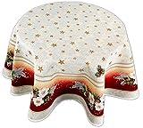 Tischdecke 130 cm rund WEIHNACHTEN Gobelin Tischtuch Tafeltuch Weihnachtsdecke Hossner (130 cm)