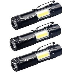 Gardez une meilleure Lot de 3mini LED Lampes de poche portable lampe torche COB lampe de poche super Bright Noir lampe de poche tactique lampe de poche (Noir)