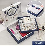 FBSBSD Caja De Almacenamiento De Joyas De Princesa Japonesa Arco Caja De Joyas De Joyería para Mujeres Caja De Joyas De Cuero De Alto Grado De Tres Niveles 22.5 * 22.5 *...