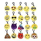 Mini Emoji portachiavi peluche Cuscini Emoticon Portachiavi morbido partito Bag Filler Toy regalo per i capretti, 20 confezioni