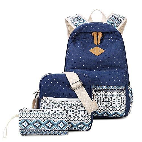 Pureed 3 Teilig Casual Canvas Schulrucksack Set Ultraleicht Schultertasche Geldbörse Causal Rucksack Freizeitrucksack Daypacks Backpack Mädchen Und Jungen (Color : Darkblue)