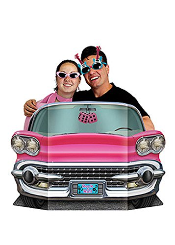 50er Jahre Party ausgeschnitten Rosa Auto Foto Prop