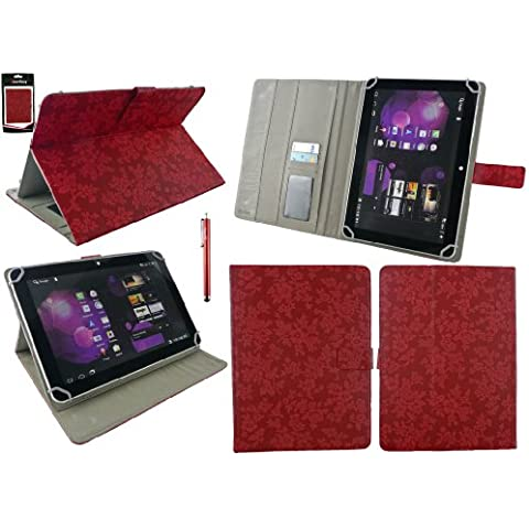 Emartbuy® Red Stylus + Universal Range ( 8 - 9 Inch ) Vintage Floral Red PU Leather Ángulo Múltiples Executive Folio Funda Carcasa Wallet Case Cover Con Tarjeta de Slots Suitable for Acer Iconia A1-830 8 Inch