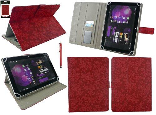 Emartbuy® Denver TAQ-10133 10.1 Zoll Tablet Universalbereich Vintage Floral Rot Multi Winkel Folio Executive Case Cover Wallet Hülle Schutzhülle mit Kartensteckplätze + Rot Eingabestift