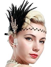 BABEYOND Fascia Anni 20 Gatsby Flapper Headband Fascia Charleston con Piuma Anni 20 Fascia Capelli Gatsby per Festa a Tema Vintage Matrimonio