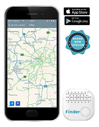 musegear Key Finder Version 2, localisateur et traqueur sonore pour retrouver clés, portable, portefeuille, volume 3 fois plus fort – connecté Bluetooth et GPS, couleur Blanc