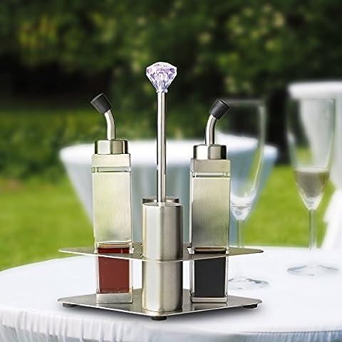 AnnyFa Öl & Essig Flaschen Set Salz & Pfefferstreuer mit Zweischichtigen Stand