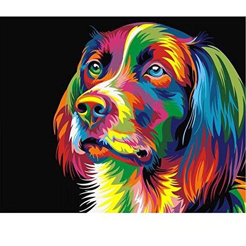 subery DIY Acryl Malen Malen nach Zahlen Kits von Hand Färben für Erwachsene Kinder Anfänger-Geschenke-40,6x 50,8cm (rahmenlose) Colourful Head of the Dog (Party Dog Tags Supplies)