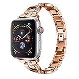 Altsommer Armband für Apple-Uhr- / iWatch-Reihe 4 44mm Luxus Edelstahl Armband mit StrasssteinenEdelstahl Armbände,Edelstahl Replacement Wrist Strap Band Zubehör für Damen Herren (Rose Gold)