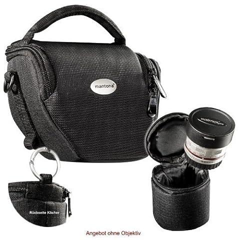 MANTONA VARIO DUO schwarz kompakte System Kameratasche mit Schultergurt und separatem