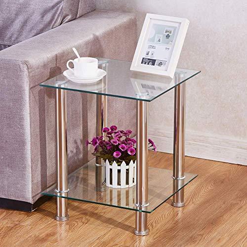 GOLDFAN Beistelltische mit 2-Tier Klarglas Regal Rack Moderne Sofa Beistelltische Klein Tisch mit Chrome Edelstahl Frame Legs Storage Regal Möbel -