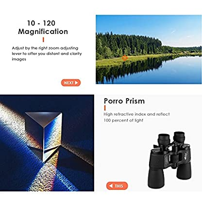 HD Prism Binoculars for Adults,BIJIA 10X-120X80 Roof Prism Compact Binoculars Stargazing Vision Wide-Angle Waterproof for Bird Watching, View and Stargazing, Hunting,Black