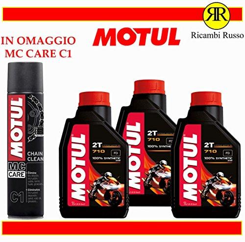 Motul 710 2T olio motore moto 2 tempi litri 3 + OMAGGIO MC Care C1 Ch